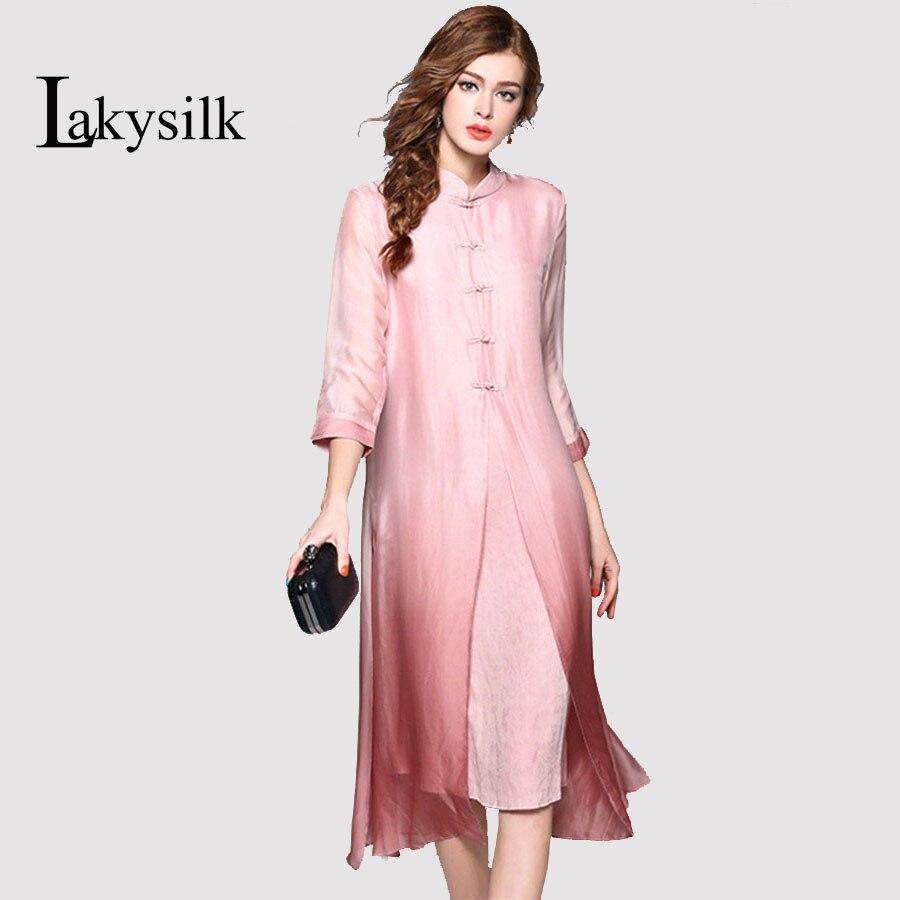 Lakysilk 100 шелк длинное платье женская половина рукава в китайском стиле одноцветное цвет женские мягкие и удобные высокое качество купить на AliExpress