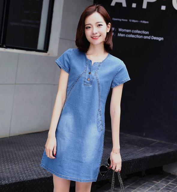 7918f30b47151d 2019 Zomer merk luxe Denim jurk vrouwen o-hals Kraag Korte Mouwen Zakken  jeans jurken