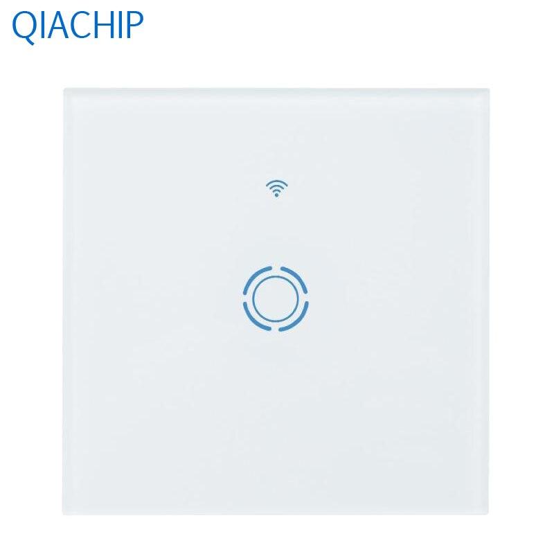 EU White Switch Sensor Touch Switch AC 90-250V Luxury Crystal Tempered Glass Panel WiFi Smart Wall Light Switch LED Indicator photoelectric switch sensor square reflex light barrier sensor photoelectric switch ac 90 250v mayitr