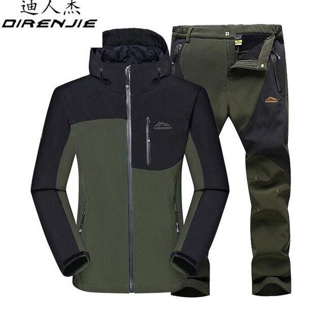 401b56886fd70 DIRENJIE Winter Male Outdoor Jacket Hiking Camping Sports Waterproof  Windproof Skiing Jackets +Pants Suit men Sportswear Set