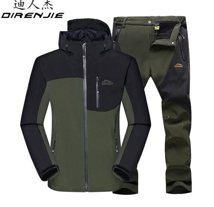 DIRENJIE hiver mâle veste de plein air randonnée Camping Sports imperméable coupe-vent ski vestes + pantalon costume hommes ensemble de vêtements de sport