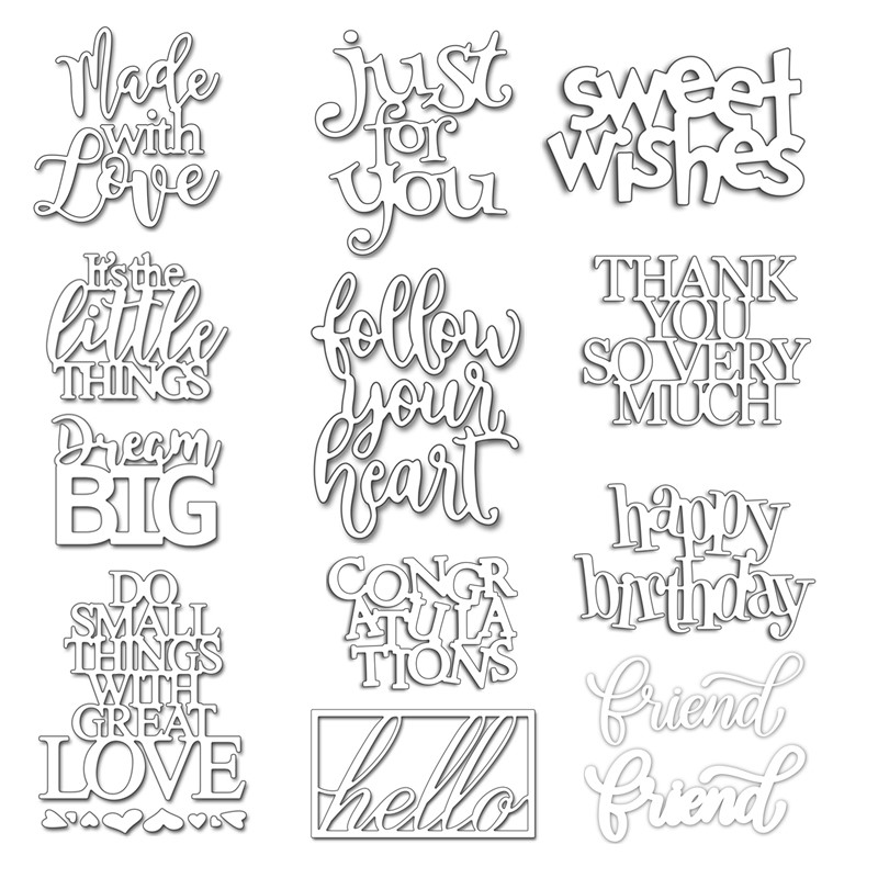 Common English Words Phrases Metal Cutting Dies Stencil for DIY Scrapbooking Decorative Craft Paper Cards Making New 2018 Diecut(China)