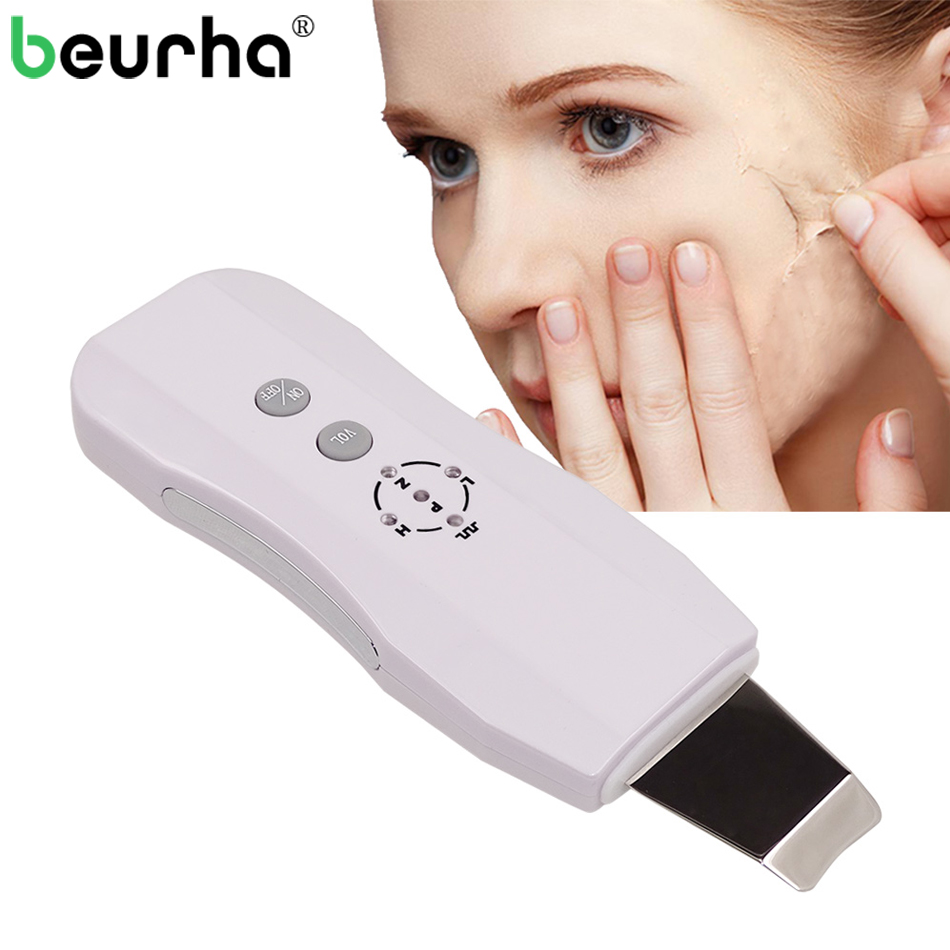 Beurha Face Ultrasonic Pore Cleaner Ultrasound Therapy Skin Scrubber Deep Cleaning Facial Lifting Therapy For SPA Face Skin Care
