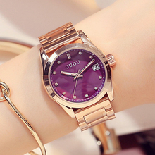 GUOU Ladies Watch Fashion Rose Gold Watch Women Watches Calendar Luxury Diamond Women's Watches Clock saat montre femme