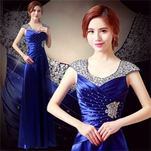 Sequins new autumn and winter banquet elegant fashion host choral classic female long dress(China)