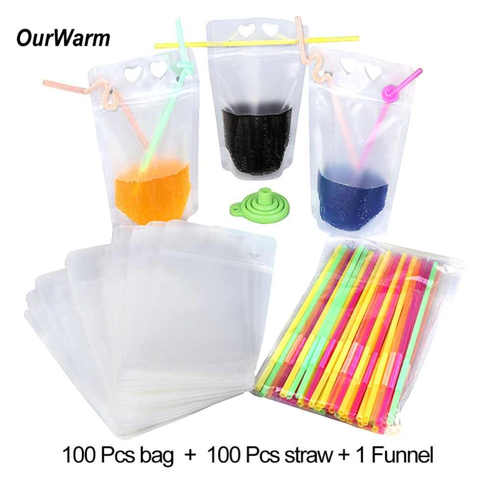 OurWarm 100pcs Disposable Drink Pouches with Straw Zipper Clear Stand-Up Plastic Pouches Bags Party Supplies Cooler Bags