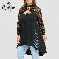 AZULINA Nero Sexy T-Shirt Donna T shirt Plus Size Lace Trim strappato Tunica Parti Superiori Delle Signore Nuove Mode Gotico Inverno maglietta Lunga