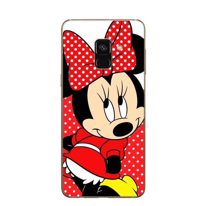 De dibujos animados lindo parejas Mickey Minnie caso claro y suave de silicona cubierta del teléfono para Samsung A7 2018 A750F A750 6,0 a6 A8 Plus