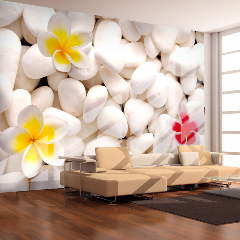 Custom 3D Wall Mural Modern Simple White Stone Flower Wallcloth Wallpaper Living Room TV Sofa Background Wall Covering 3D Decor