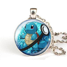 Steampunk Game Gamer 2017 New Anime Jewelry Squirtle Pokeball Necklace 25 mm Round Pokemon Necklaces & Pendants Vintage Chain