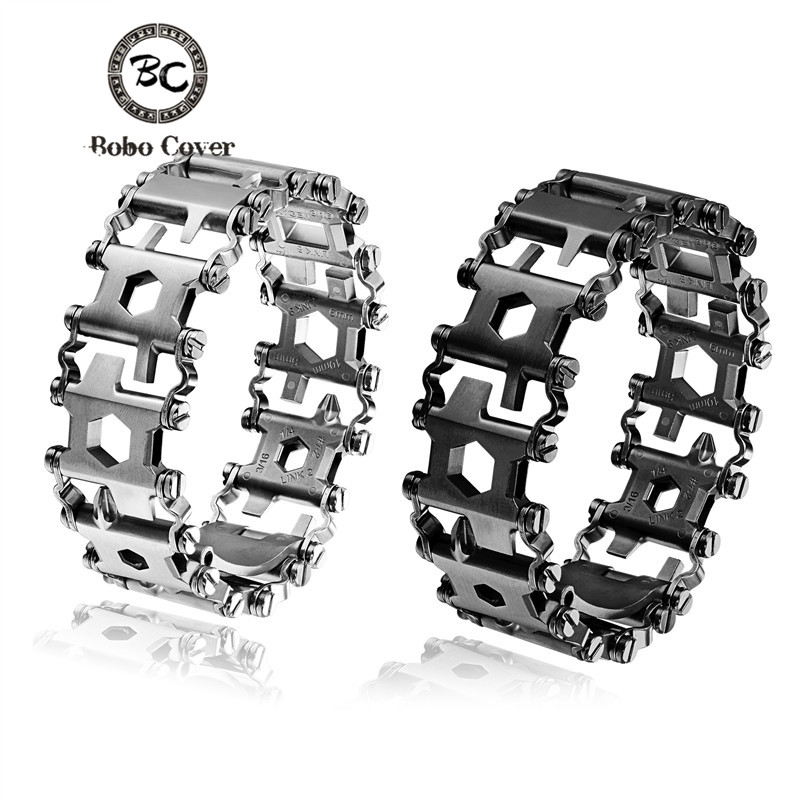 New High quailty Stainless steel Tool Survival Bracelet Men Wearable 29 In 1 Bracelet Strap Multi-function Outdoor Emergency Kit 29 in 1 portable outdoor survival edc tool bracelet multi functional wearable tread stainless steel punk link bracelets strap