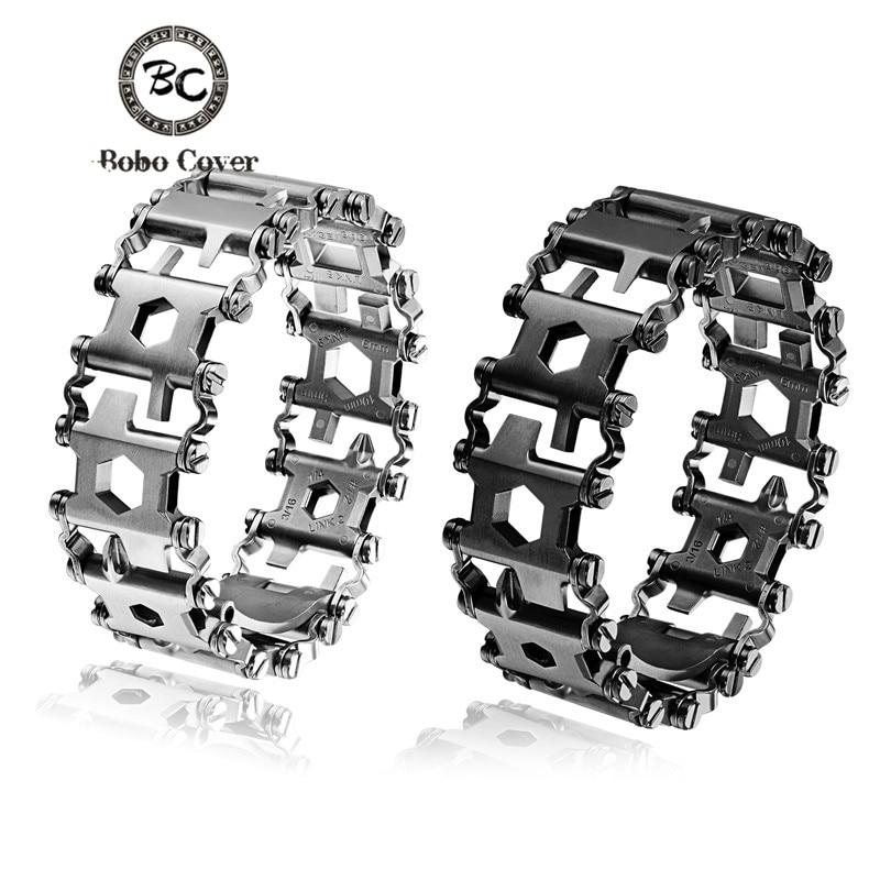 Nouveau Haute quailty acier Inoxydable Outil de Survie Bracelet Hommes Portable 29 Dans 1 Bracelet Bracelet Multi-fonction D'urgence En Plein Air kit