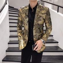 Luxury Gold Stripes Print Blazer Masculino Slim Fit Men Blazer