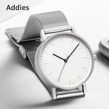 Addies Ultra-thin business watch Minimalist Swiss Movement Stainless Steel Mesh Leather Watches Bracelet Quartz Watch clock