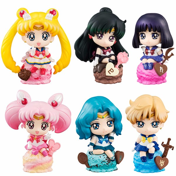 6pcs//Set Petit Chara Land Sailor Moon Ice Cream Party PVC Figure Cute Gifts