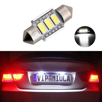 1x Canbus Error Free 36mm 3 Led Festoon Car LED Number Plate Lights Bulbs For BMW E36 E39 E46 E90 E91 E92 E53 E60 E65 E71 image