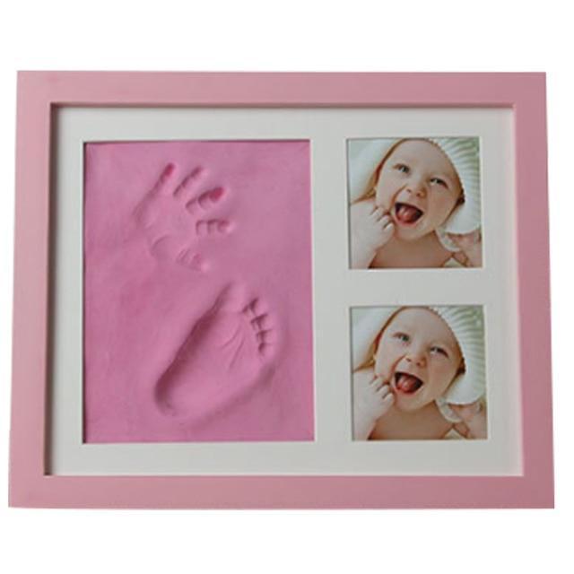 Marco huella para bebé en color rosa