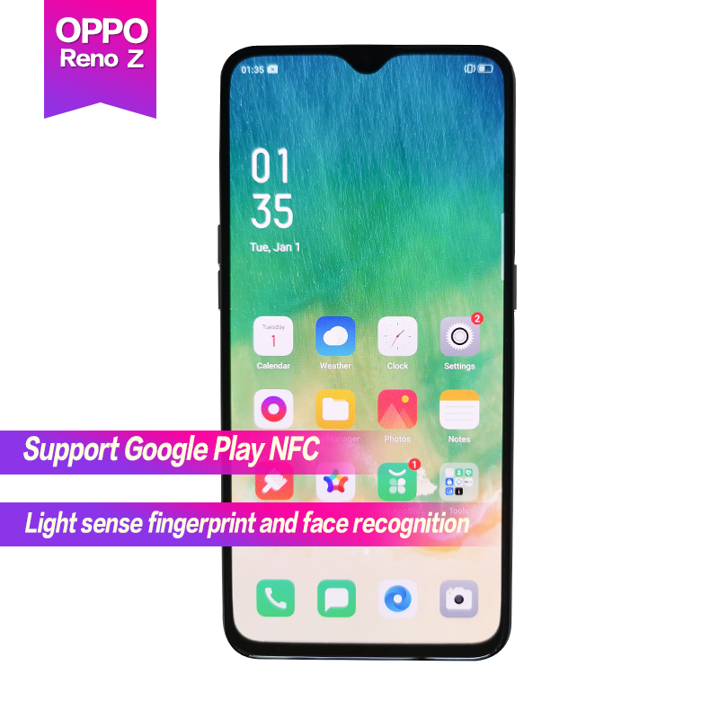"OPPO Reno Z New 6.4""AMOLED Water drop screen Support NFC 2340x1080 4035mAh Octa Core Fingerprint+Face ID 3 cameras 32MP+48MP+5MP"