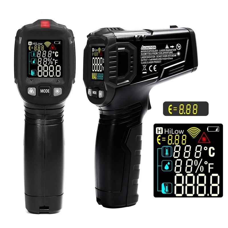 Бесконтактный Инфракрасный цифровой термометр-50-600 градусов портативный лазерный пирометр гигрометр ЖК-дисплей для автомобильной промышленности измеритель температуры
