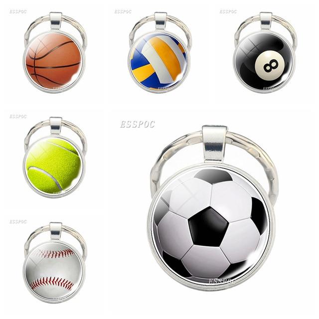LLavero de fútbol de baloncesto de moda cabujón de cristal joyería de voleibol béisbol colgante coche llavero deportes pelota regalos de cumpleaños