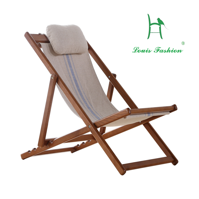 All Solid Wood Lying Chair Leisure Chair Balcony Folding
