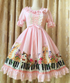 2017 Spring and Summer New Sweet Pink Kitten and Piano Key Printed Lolita One Piece Dress Free Shipping