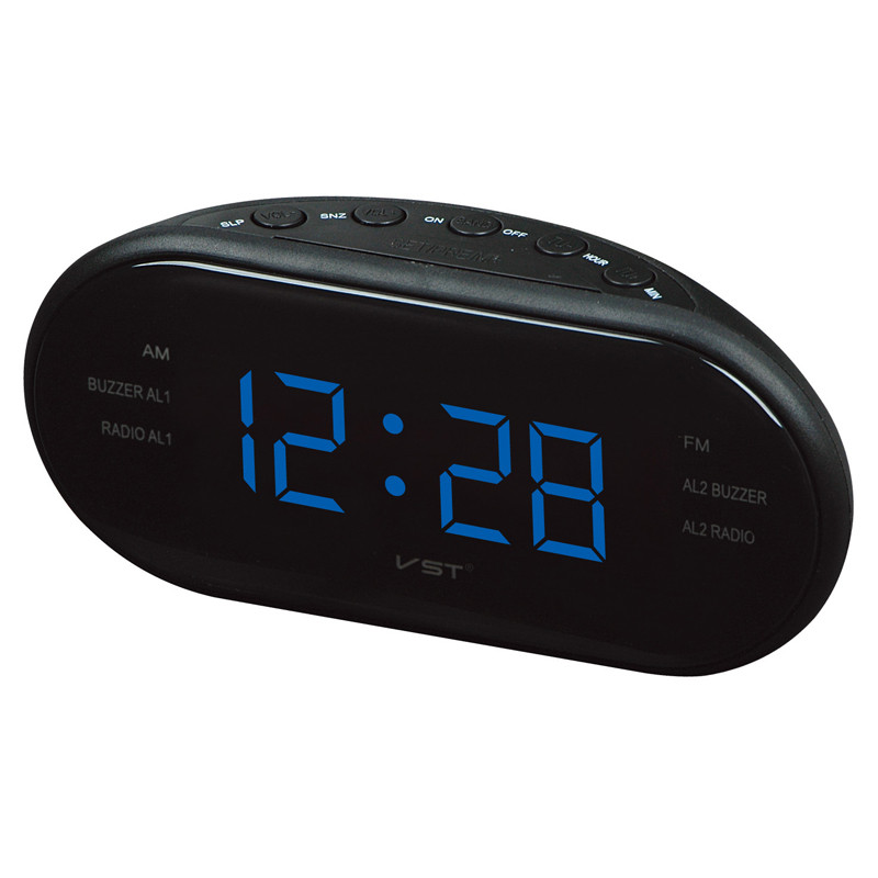 Large LED Digital AM FM Radio Alarm Clock With Backlight Snooze Nixie clock Electronic Table Watch Shelf Desk Clocks