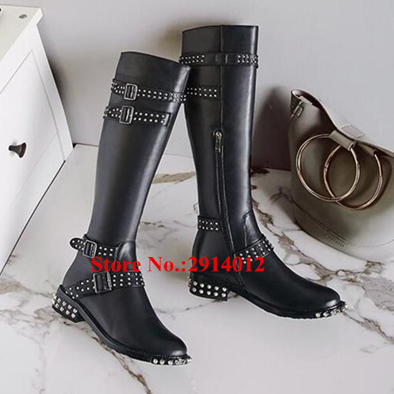 9538db12189 Knight Boots Black Leather Belt Buckle Spikes Studded Knee High Women Long  Boots Side Zip Flats Botas Mujer Women Shoes Woman