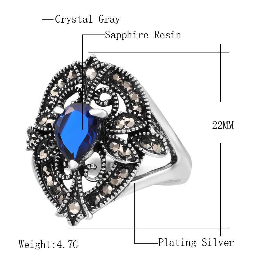 Kinel bağbozumu takı yüzükler kadınlar için gümüş renk su damlası yüzük ucuz takı toptan çok Mix
