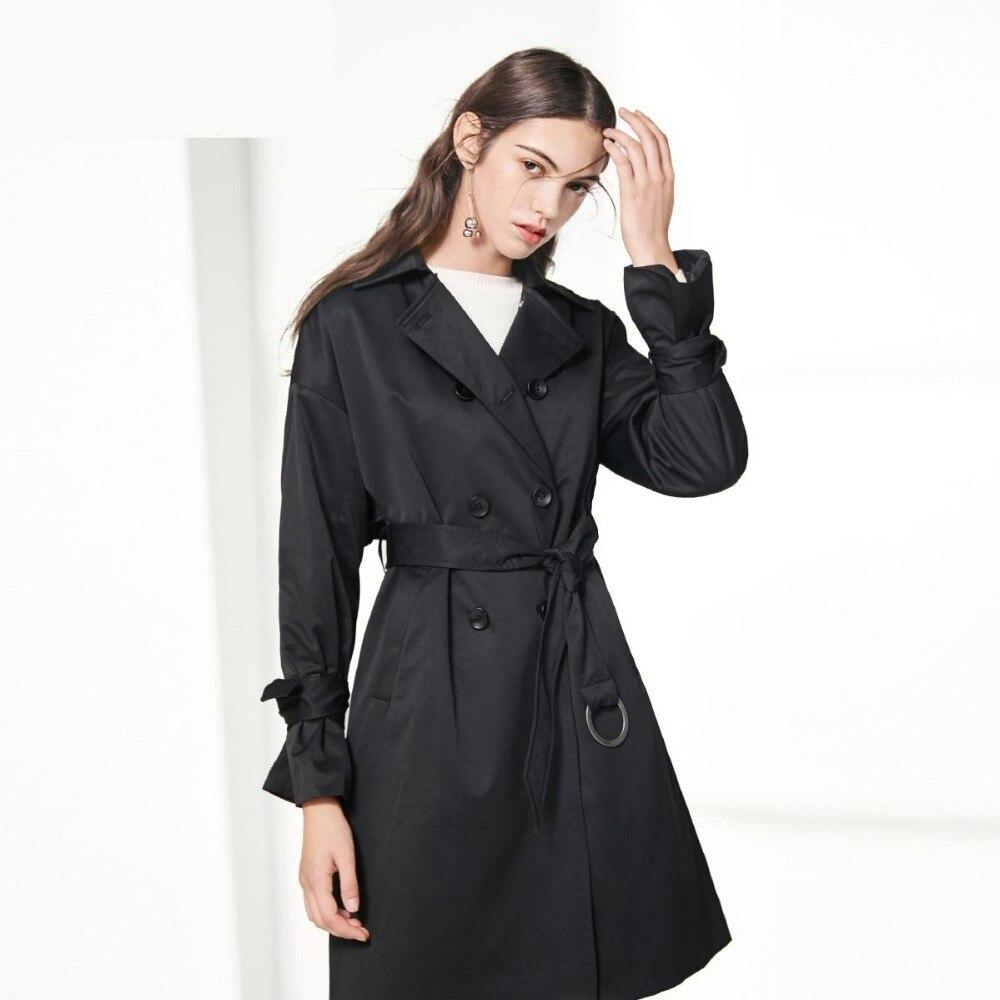 vent Office Survêtement Lady Femme Vintage Coupe Longue 2017 Automne Pour Femmes Manteaux Tranchée Classique Mode khaki Manteau Double Black Bouton Y6p7Oq