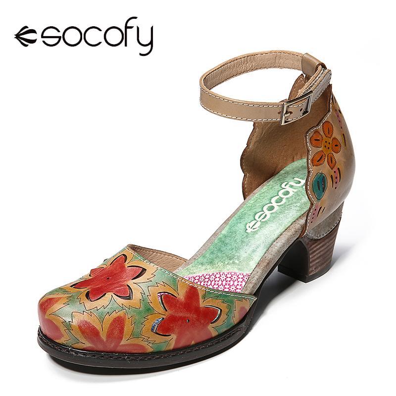 Ayakk.'ten Yüksek Topuklular'de SOCOFY el boyalı sandalet hakiki deri içi boş çiçekler desen dikiş kanca döngü sandalet yaz ayakkabı kadınlar 2019'da  Grup 1