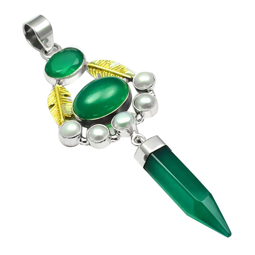 Nature Two Tone Green Onyx + Pearl Pendant 925 Sterling Silver, 80 mm, MHBAP5719Nature Two Tone Green Onyx + Pearl Pendant 925 Sterling Silver, 80 mm, MHBAP5719