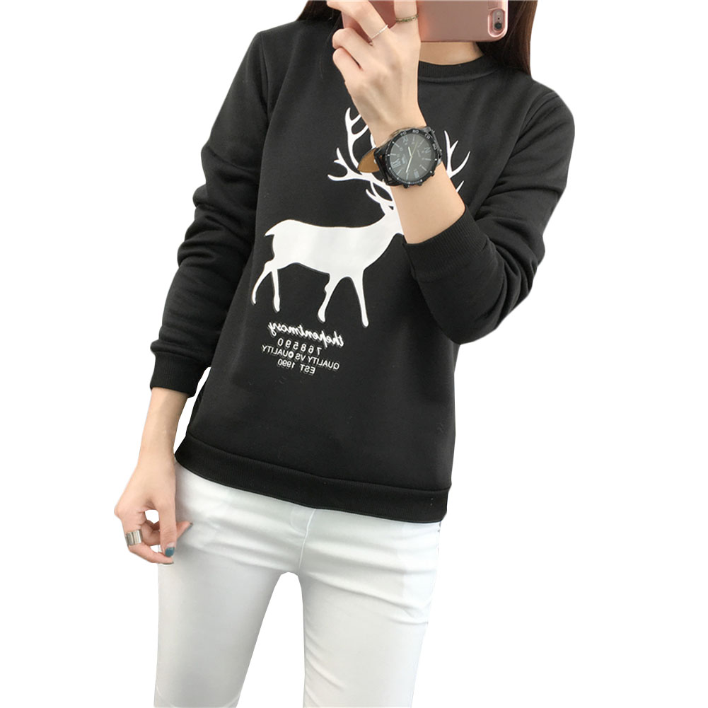 Christmas Elk Deer Printing Hoodies Sweatshirts Harajuku Crew Neck Sweats Women Clothing Feminina Loose Fleece Jumper Sweat Warm