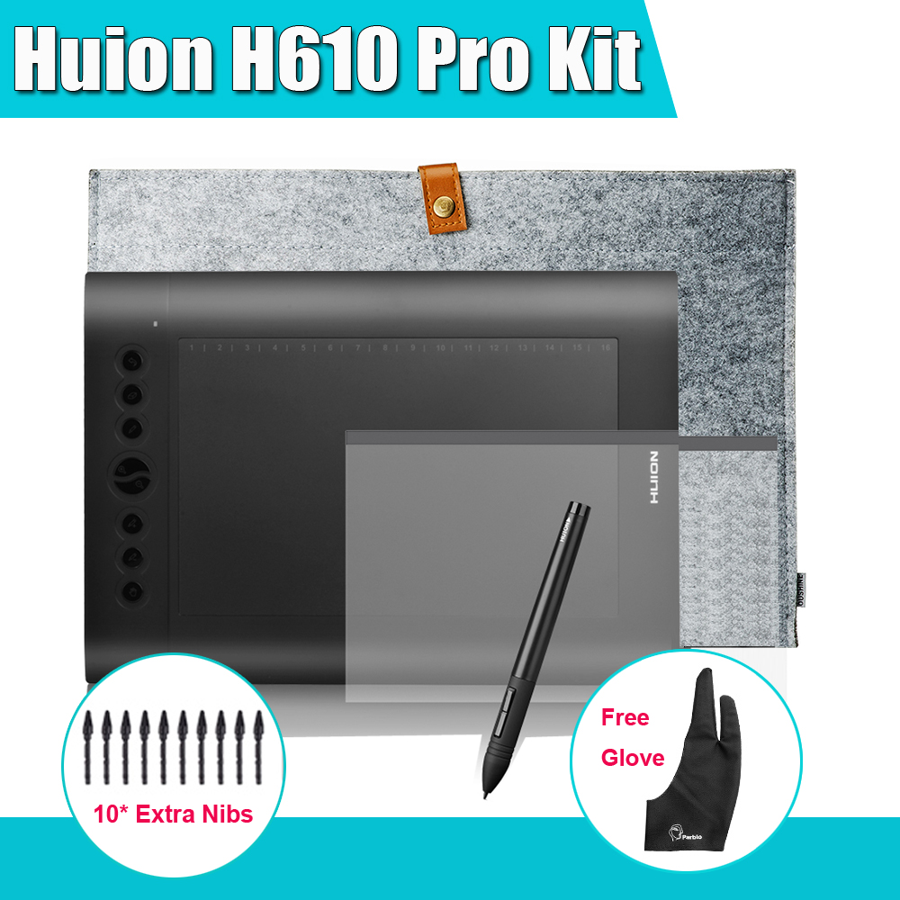 Huion H610 Pro Art Graphics Drawing Digital Tablet Kit + Protective Film +15-inch Wool Liner Bag + Parblo Glove 10 Extra Nibs