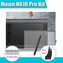Huion H610 Pro искусство графика графический цифровой планшет комплект + защитная пленка + 15-inch шерсть мешок-вкладыш-супер + Parblo перчатки 10 дополнительных нибс
