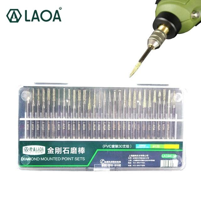LAOA 30PCS Diamant Schleifen Stangen Korund Schleif Stangen Jade Glas Gravur Kopf Polieren Nadel Für Bohrer Werkzeug Hand Werkzeug set