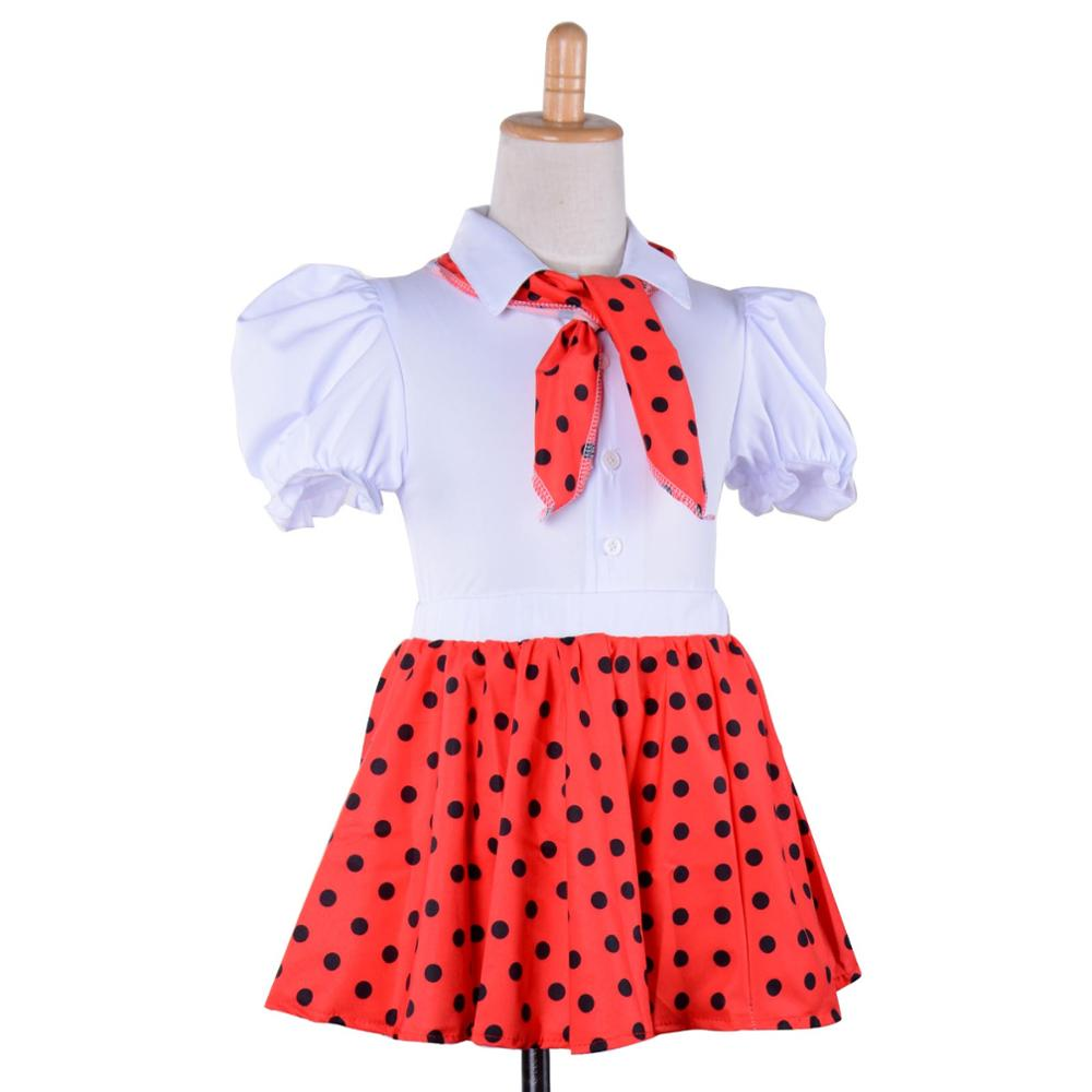 c3b0f0c68eb US $21.99 |Children 1950s Rock N Roll Grease Fancy Dress 50s 60s Sock Hop  Toddler Girls Jazz Costume Polka Dots Skirt with Scarf Outfit-in Girls ...
