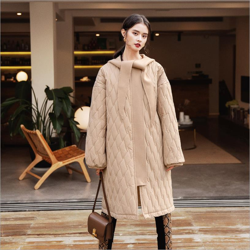 Good quality plaid design loose cotton coats female long sleeve hooded winter new   parkas   women casual outerwear tops gx1718