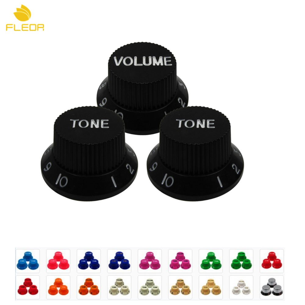 FLEOR 1 Set of 2T1V 1 Volume & 2 Tone Knobs Top Hat Speed Control Guitar Knobs Plastic Material For Electric Guitar