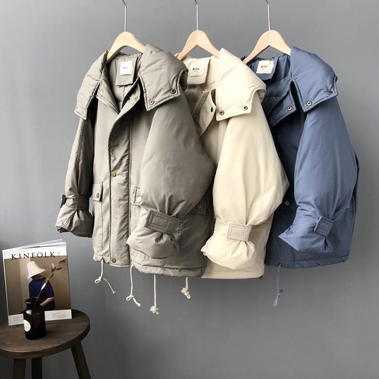 Winter Women Jacket Cap Pure Color Short Cotton Padded Hooded Coat Loose Thickened Clothes Maternity Tops Pregnancy Outerwear 2018 fashion maternity winter thickening the warm cotton padded clothes women pure slim casual jacket hooded coat parka cf5