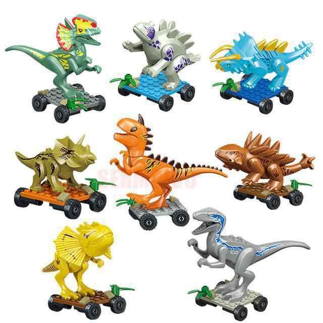 Mundo jurássico 2 Sermoido Eco Azul Dinossauros Jurassic Park Tiranossauro Velociraptor Modelo Bloco de Construção de Brinquedo do Miúdo