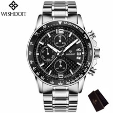 2017 Mens Watches WISHDIOT Brand Luxury Cascual Business Quartz Wristwatch Multi-function Hot Clock Watch Relogio Masculino  все цены