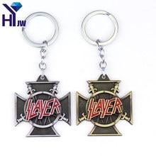 Porte-clés en métal avec Logo Slayer Killer Thrash, Vintage, pour groupe de Rock, bijoux pour Fans, cadeau Souvenir, haute qualité