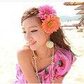 1 PCS de moda de nova Tecido Blooming Flower mulher Decorações da festa de casamento Broche sun flower Grampo de Cabelo de Flor de Cabelo Acessórios