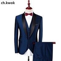 CH. КВОК Для мужчин королевский синий смокинг костюм Нарядные Костюмы для свадьбы для Для мужчин 3 предмета куртка + брюки + жилет Для мужчин S