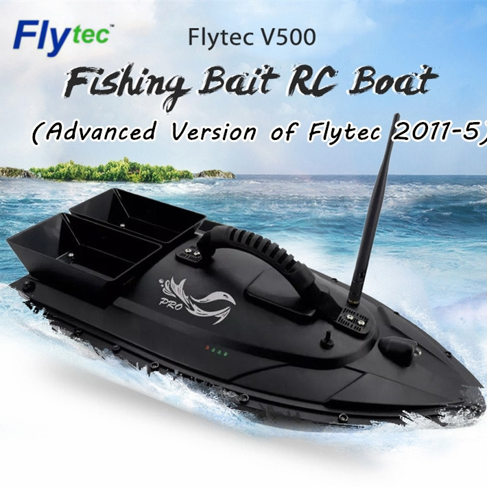 Flytec V500 Fishing Bait RC Boat 500m Remote Fish Finder Double Motor 2 - 24 hours RC Boat Outdoor Toy With Transmitter