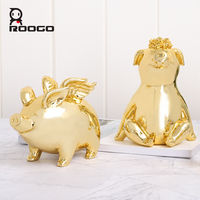 ROOGO money box pig piggy bank for coins money child Golden mascot with wing ornament home decoration accessories coin organizer