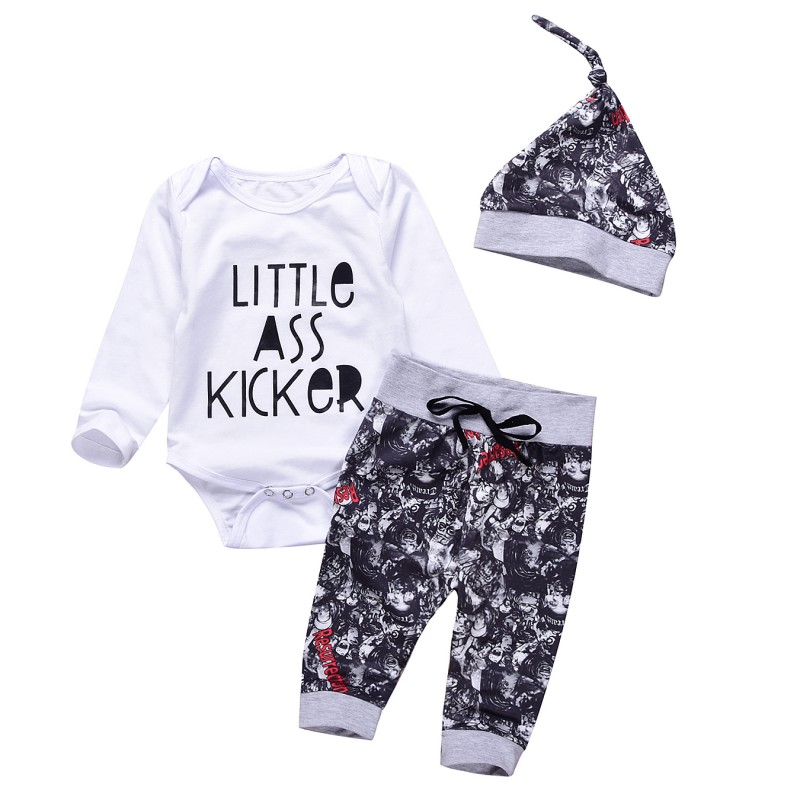 Newborn Baby Boys Girls Printed Letter Clothing Set Full Sleeve Cotton Bodysuit One+piece Tops + Pants + Hat 3PCS Clothes
