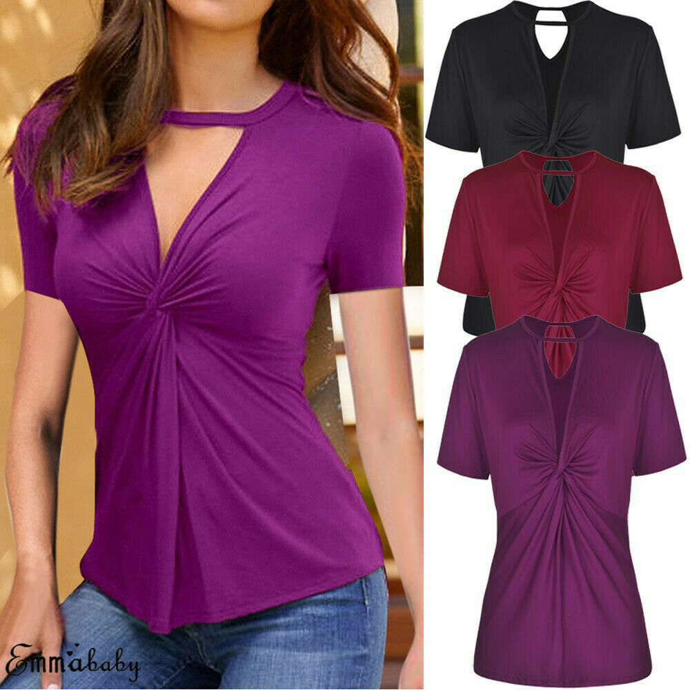 2019 New Fashion Women T Shirts Plus Size Choker V Neck Lace Up Sexy Party Club Top Shirt Tunic Top in T Shirts from Women 39 s Clothing