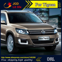 Free Shipping 12V 6000k LED DRL Daytime Running Light For VW Tiguan 2013 Fog Lamp Frame